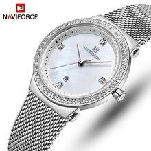 NAVIFORCE relojes de cuarzo de acero inoxidable para mujer, reloj de pulsera sencillo, femenino
