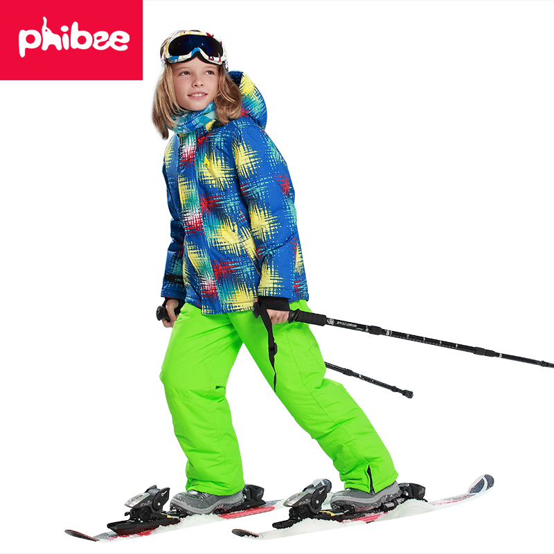 Phibee Free Shipping Winter Outdoor Children Set Windproof Ski Jackets+Pants Kids Snow Sets Warm Waterproof Skiing Suit For Boys 2016 winter boys ski suit set children s snowsuit for baby girl snow overalls ntural fur down jackets trousers clothing sets