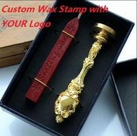 Customized Wax Stamp In Gift Box With Wax Retro Style Sealing Wax Stamp Set Deluxe Gift