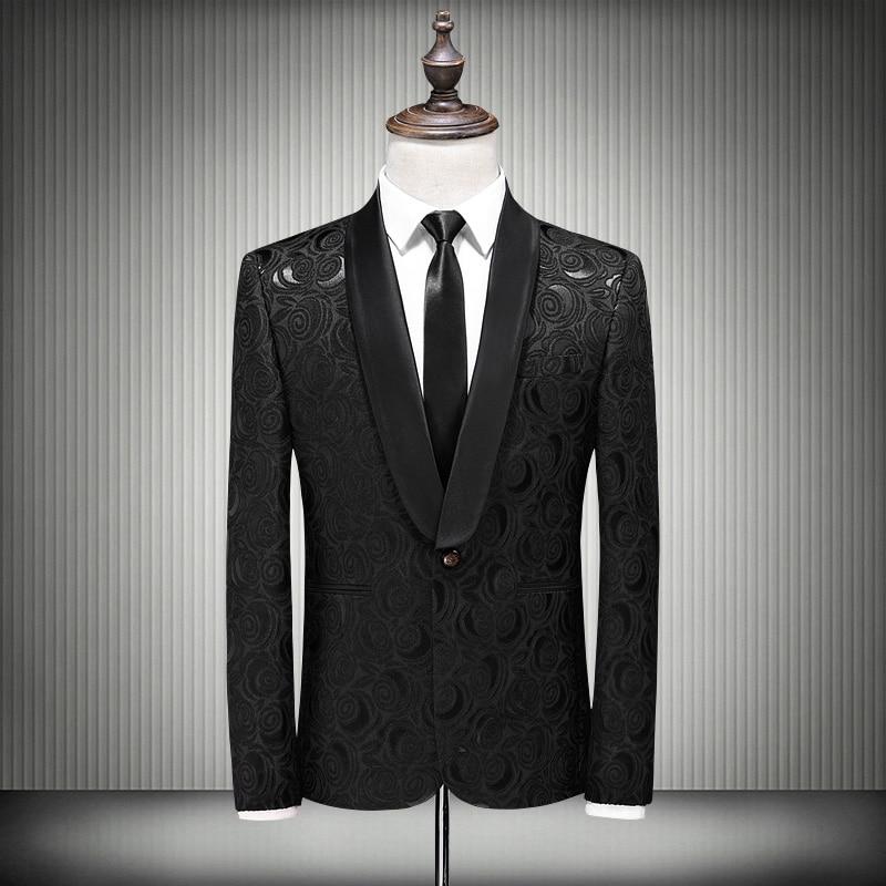 Plyesxale 黒ジャカードスーツ男性 2018 スリムフィットの結婚式のスーツ 4XL 5XL ショール襟男性花柄スーツ q268 着用してください