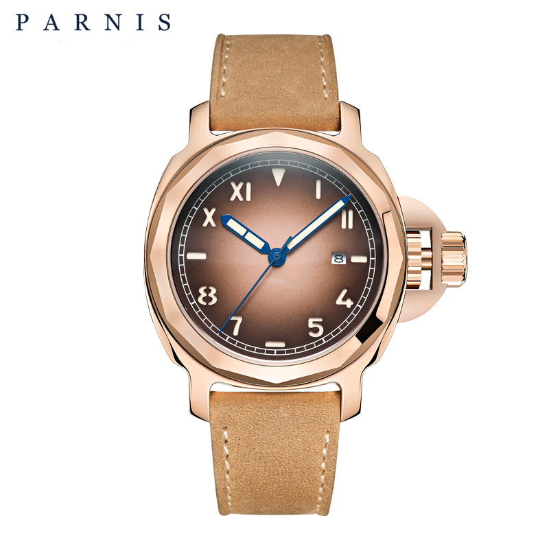 44mm Parnis Watch Men Mechanical Automatic Movement Mens Watches Sapphire Glass Genuine Brown Leather цена 2017