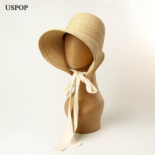 Uspop 新夏の太陽の帽子ヴィンテージ織ラフィア帽子ワイドつばのレースアップわら帽子折りたたみビーチ帽子