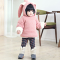 Padded Hooded Infant Jacket Thick Fleece Warm Jacket Cute Outerwear Cartoon Cosplay Baby Girls Cotton-Padded Coats Ears Rabbit