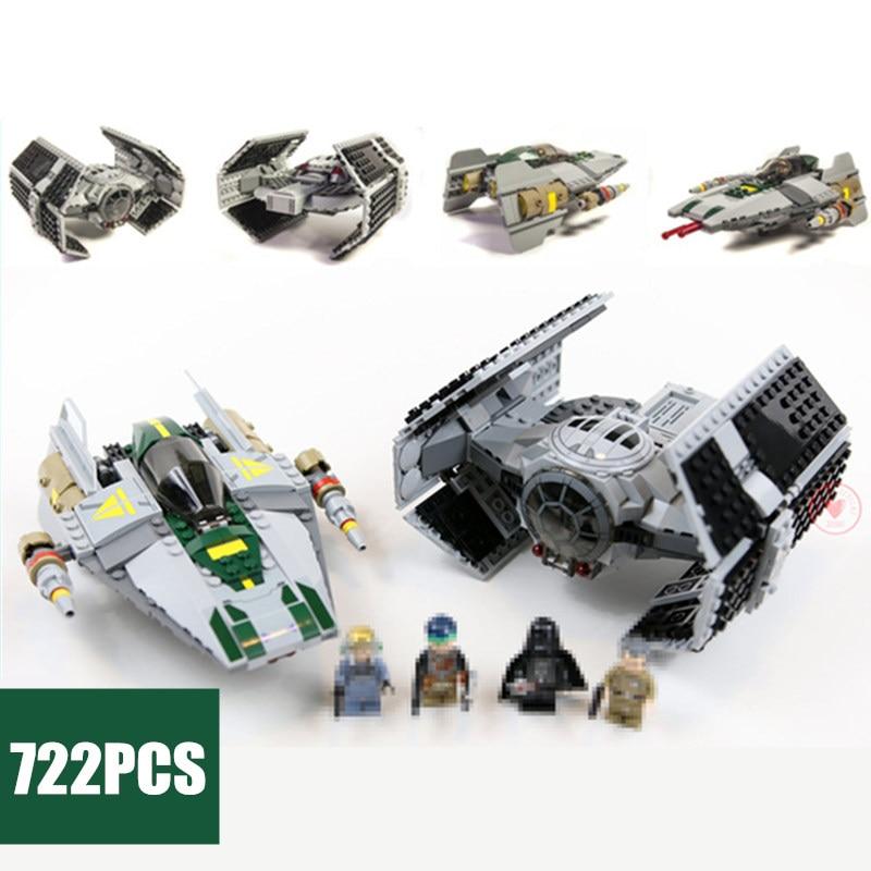 New Vader Tie Advanced VS A wing Starfighter fit legoings star wars figures Building Blocks bricks 75150 diy toys gift kid