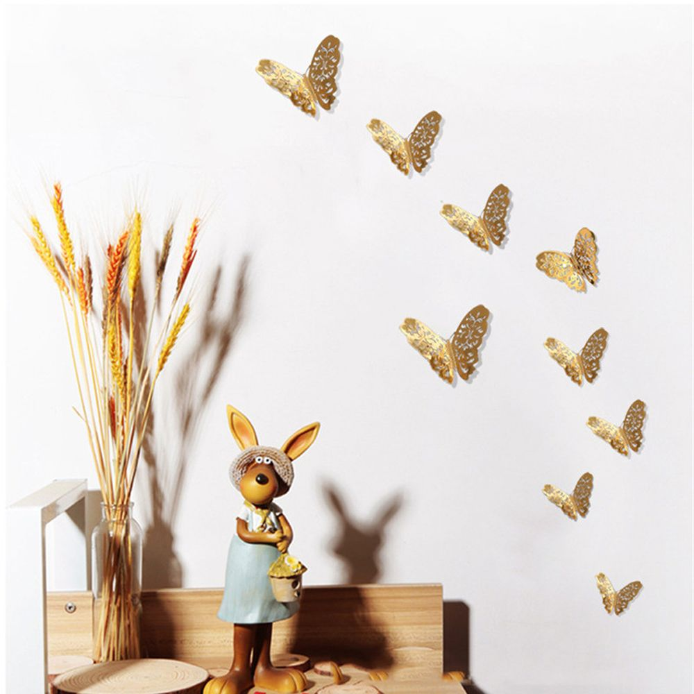 popular xmas wall decorations buy cheap xmas wall decorations lots christmas 12pcs set pvc wall stickers 3d butterfly hollow diy home decor poster kids rooms