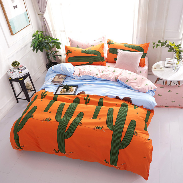 Cartoon Green Cactus Printed Bedding Sets Bedclothes Duvet Cover Linens  Pillowcases Bed Sheets Full Queen King