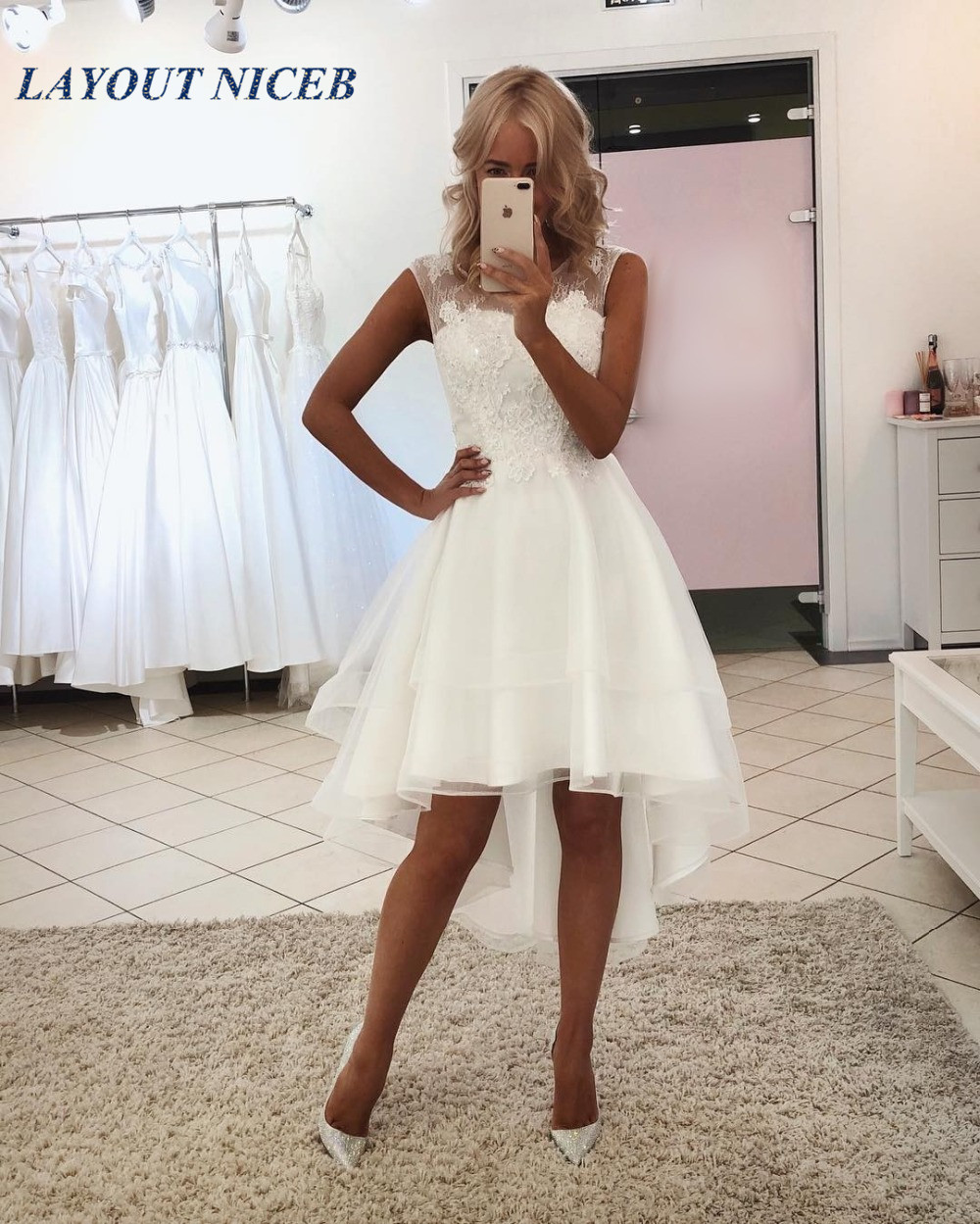 Sexy Simple Lace Short Beach Wedding Dresses High Low Cheap Bride Gowns 2019