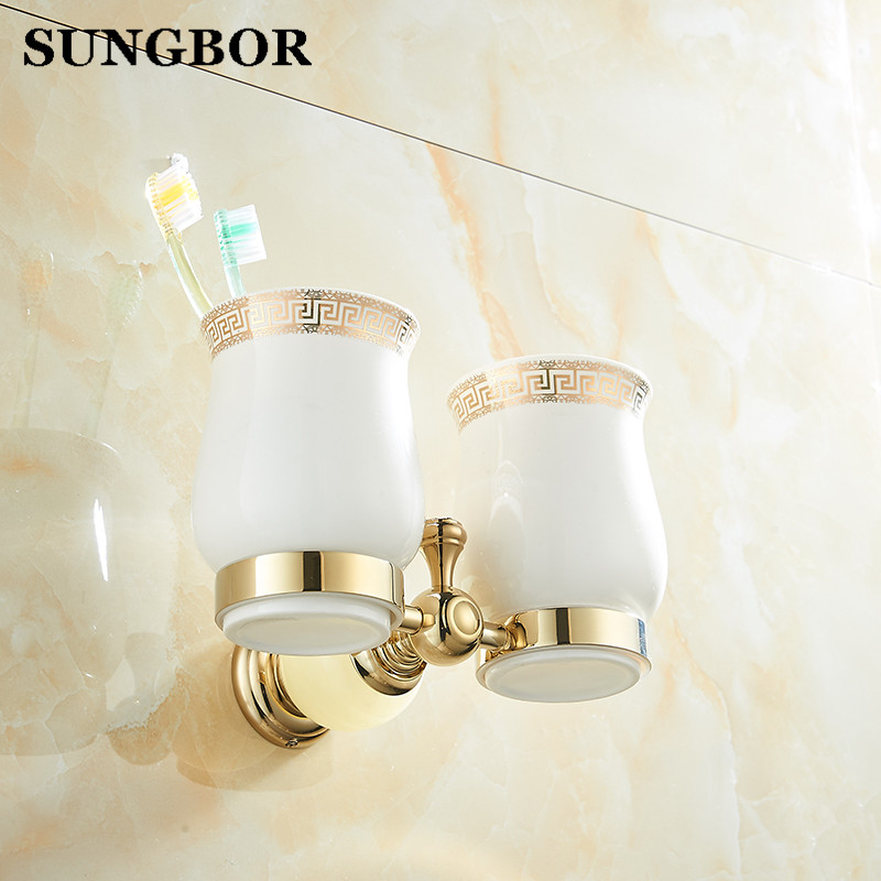 ФОТО Golden Crystal+ Brass+Glass Bathroom Accessories Gold Double Cup Tumbler Holders,Toothbrush Cup Holders YS-99803K