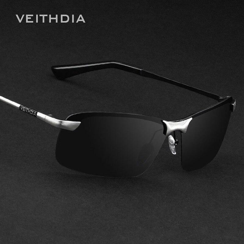 VEITHDIA V3043 Brand Men's Sunglasses Polarized Lens Sun Glasses Designer Rimless Glasses Goggle Eyewear Accessories For Men