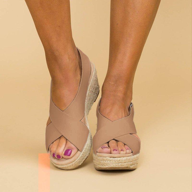 Summer Women Pumps Cross High Heels Platform Sandals Ladies Woman Chaussure Fish Mouth Open Toes Sandals Shoes