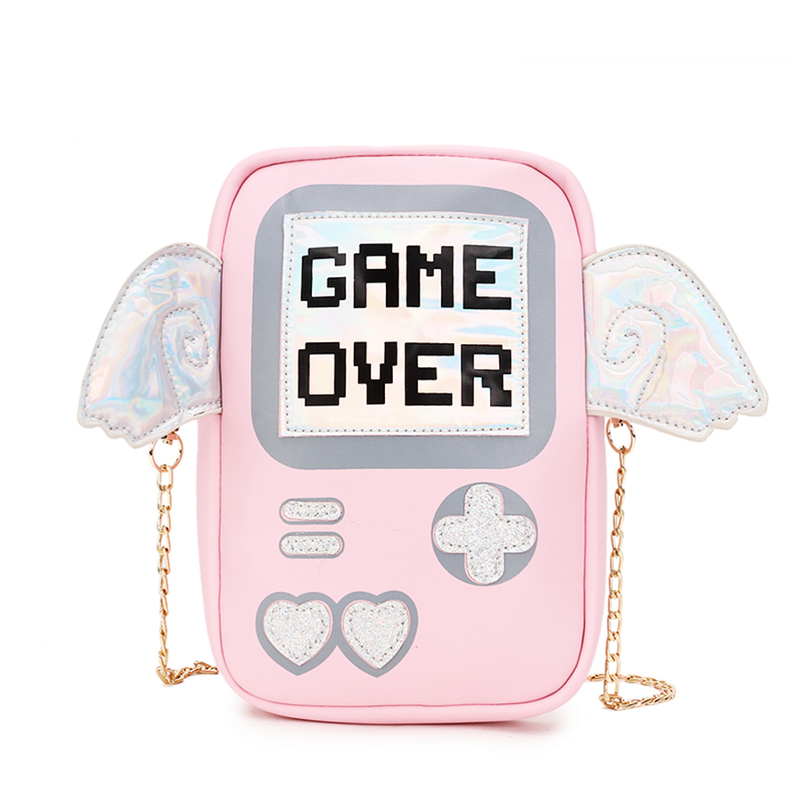 Fun Cute Fashion Personality Letter Game Shape Messenger Bag Women Laser Wings Mini Clutch Purse Flap Ladies Chain Shoulder Bags