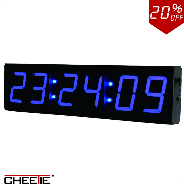 LARGE 4 Blue LED Wall Clock COUNT DOWNUPINTERVALSTOPWATCH Timer