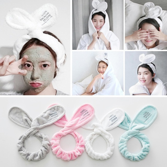 Cute Rabbit Ears Women Elastic HeadBands For Wash Face Mask Make Up Hair Holder Head Band Headwrap For Girls Hair Accessories