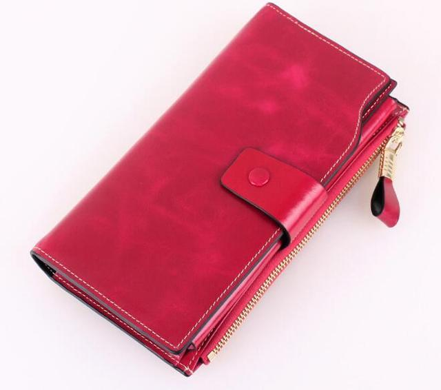 new style women cow skin oil wax long purse with multi card holder high quality