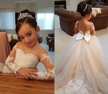 Lovely Long Sleeves Flower Girl Dresses for Weddings 2019 Sheer Neck Lace Little Girls First Communion Pageant Gowns 2017 two pieces lace flower girl dresses for weddings vintage pageant gowns communion