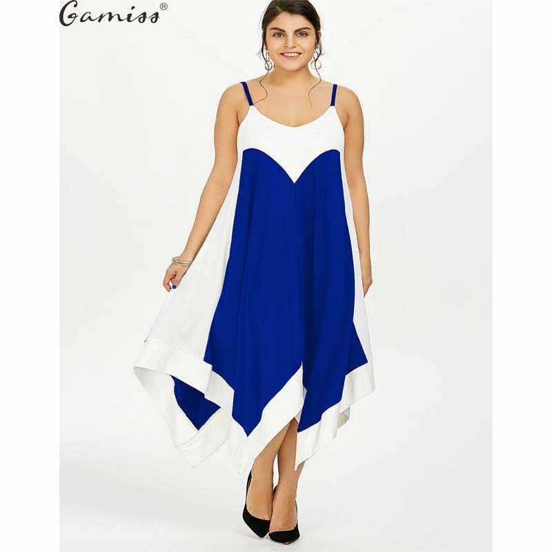 d384654e6308a Wipalo 2017 Summer Plus Size 5XL Two Tone Handkerchief Slip Dress Casual  Sleeveless Solid Swing Dress Vestido Femme Beach Dress