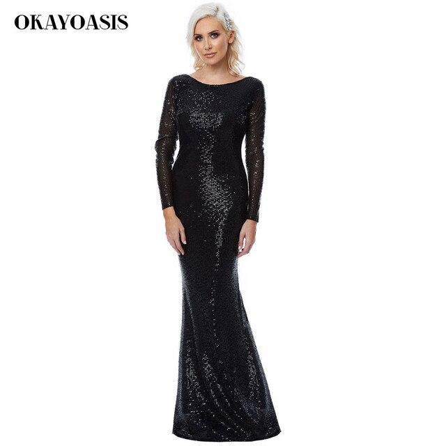 OKAYOASIS Sexy Women Winter Diamond Luxury Club Party Dresses Maxi 2018 Sexy  Backless Long Sleeve Sequins 117b5c752a30