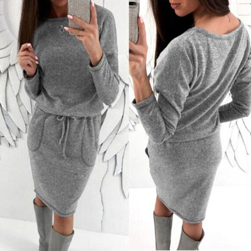 2019 Women Autumn Warm knit Elastic dress Tight-fitting Lace-up Waist Long Sleeve Dress Sexy Gray O-neck Slim Straight Dress