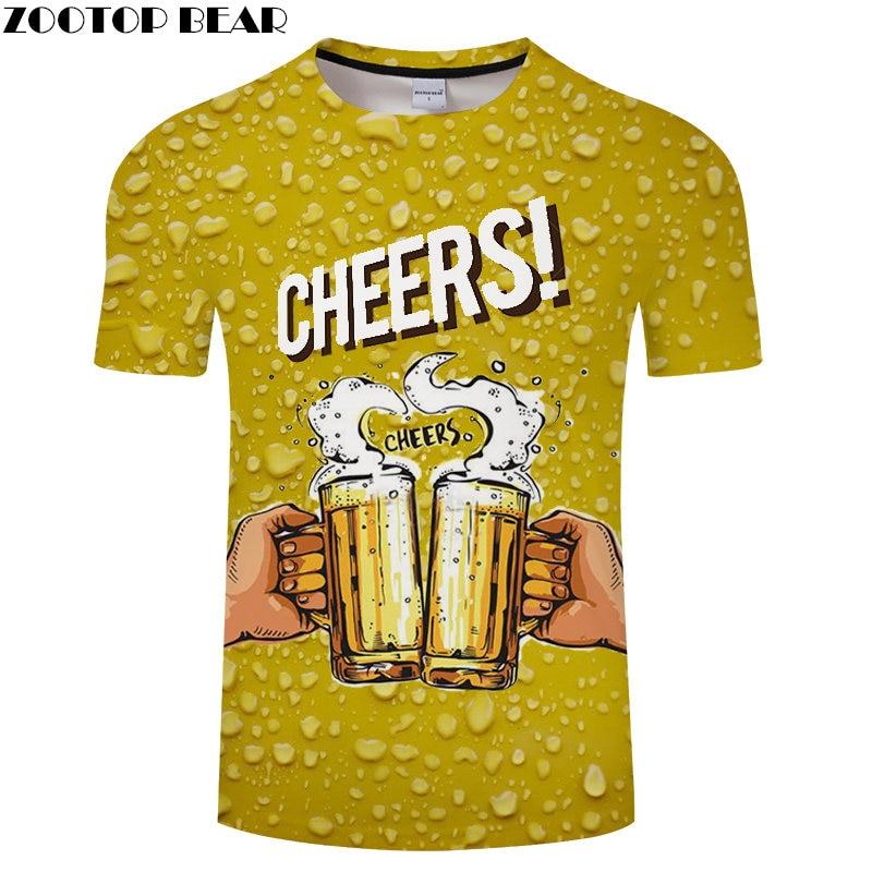 Green Cheers Beer 3D t shirt Travel tshirt Men t-shirt Summer Top Tee Funny Short Sleeve Shirts Streetwear Dropship ZOOTOPBEAR