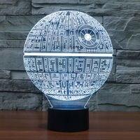 LED שולחן אור לילה 3D אשליה אופטית כבל USB מנורת שולחן קישוטי חג האהבה ליל כל הקדושים מות מלחמת כוכבים