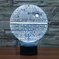 2017 New Star Wars Death Star 3D Illusion LED Night Light Touch Switch Table Desk Lamp