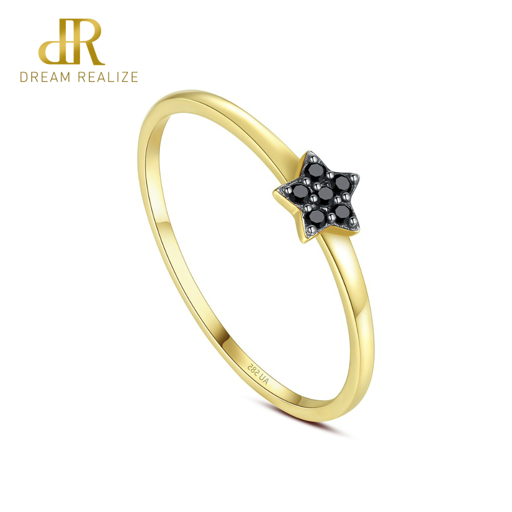 DR Genuine 14K Yellow Gold Black Cubic Zircon Star Shaped Wedding Bands Rings for Women Fashion Circle Bridals Rings Jewelry