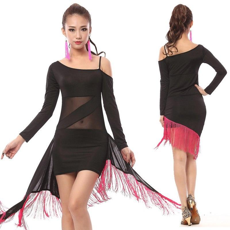 Leopard Print Latin Dress New Fashion Tassel Nightclub Performance Female Adult Gauze Costume National Style Latin Dance Dress