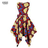 Kureas African Dresses for Women Summer Asymmetrical Slip Dress Dashiki Sundress Bazin Riche Traditional Clothes Batik