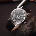 2017 new skeleton hollow fashion men luxury male business leather strap Wrist Watch