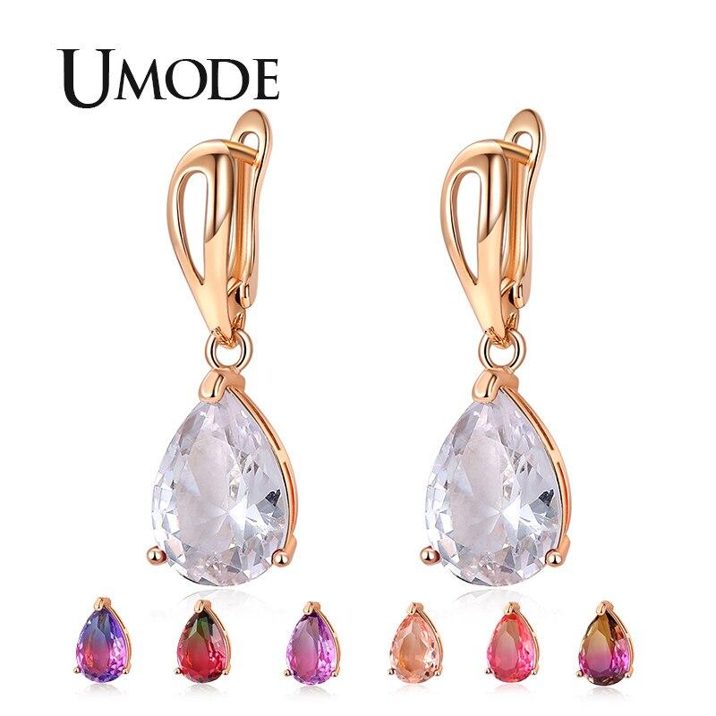 e9c618ea0 UMODE Brands Colorful Tourmaline Color Water Drop Zirconia Drop Earrings  For Women Wedding Party Dangle Ear Jewelry Gifts UE0579