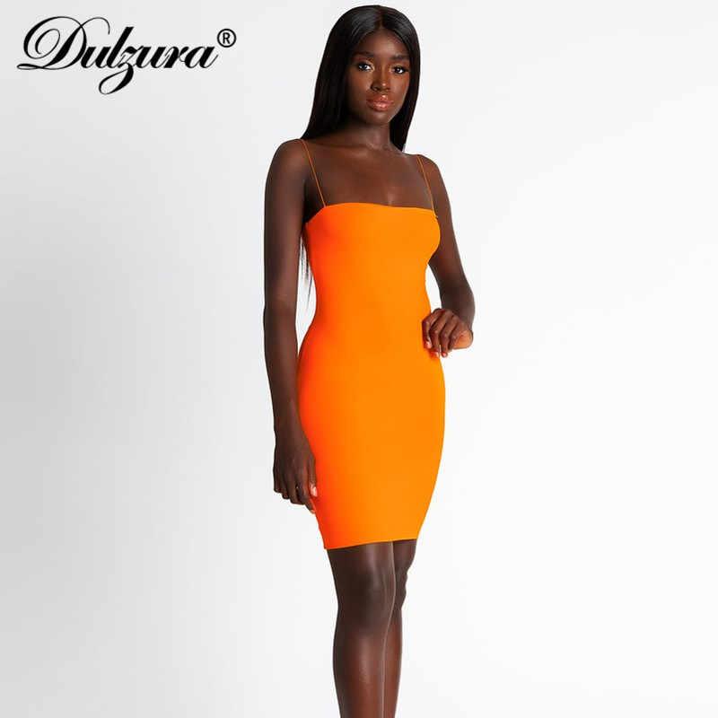 Dulzura 2019 летнее женское сексуальное обтягивающее платье с открытой спиной однотонный Оранжевый Мини платье для вечеринки платья Фестивальная одежда Дамский ремень