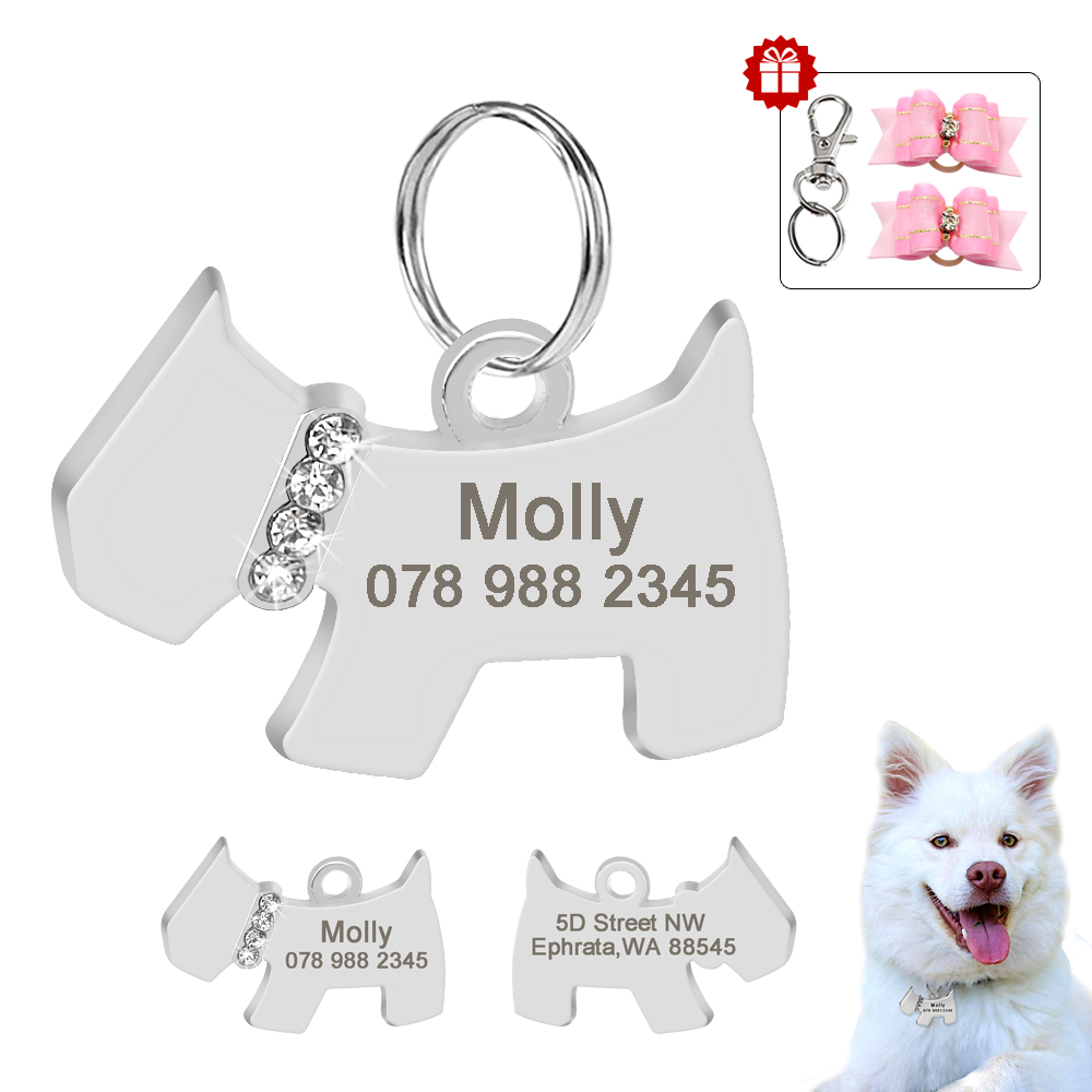 Personalized Dog ID Tag Dog Accessories Stainless Steel Anti-lost Customized Tags Engraved Pet Information With Hair Bow