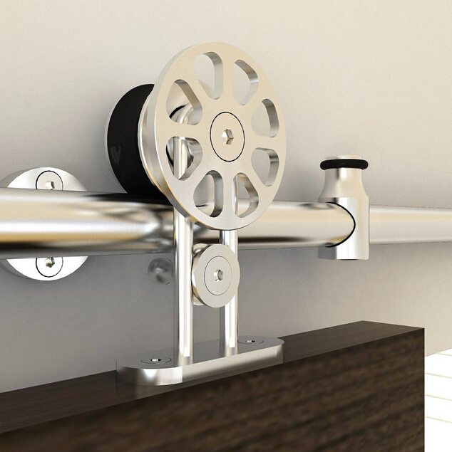 diyhd 5ft8ft top mount hollow cut stainless steel flower cut spoke wheel sliding barn