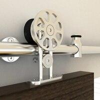 Diyhd 5ft 8ft Top Mount Hollow Cut Stainless Steel Flower Cut Spoke Wheel Sliding Barn Door Hardware