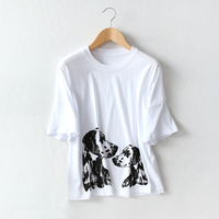 Fashion Ladies Cotton Dog Print T Shirt 2018 Summer Drop Shoulder Round Neck Loose T Shirt