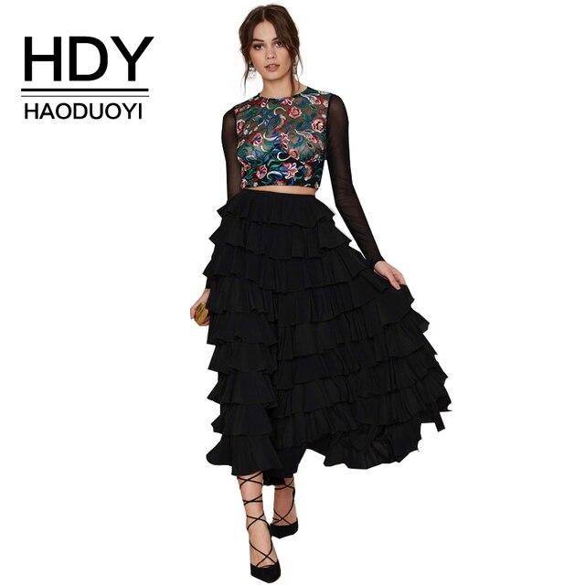 Hdy haoduoyi 2016 mujeres de la manera negro ocasional atractivo de bola de la alta cintura de la colmena del vintage elegante tobillo-longitud de la falda