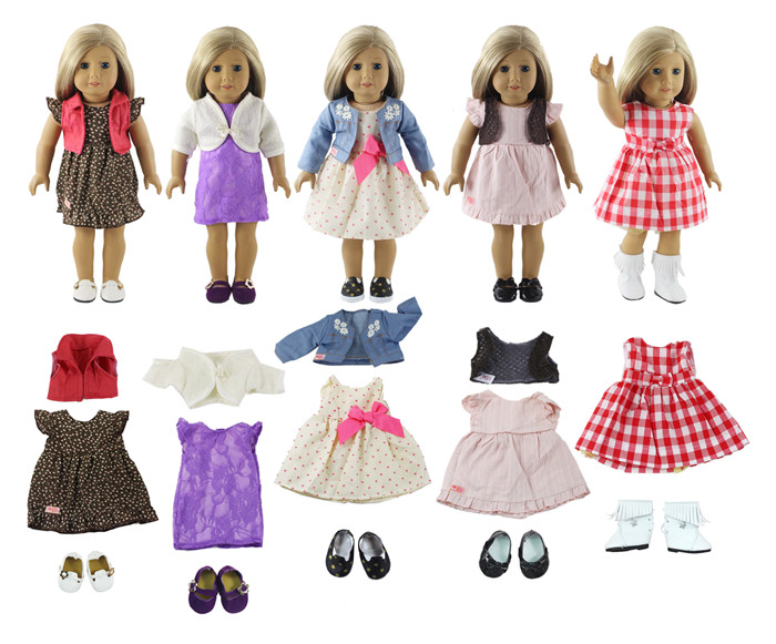 Lot 10 Item=5 Set Doll Clothes+ 5 Pair Shoes for 18 Inch American Girl Doll Handmade Casual Wear