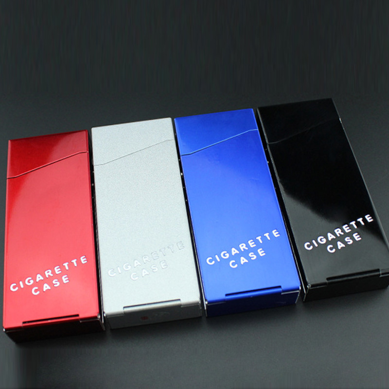 Holds 20 Cigarettes Aluminium Alloy Cigarette Case Cover Portable Ladies Cigarette Box Sleeve Tobacco Box Smoking Accessories
