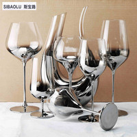 Luxury Silver Crystal Single Drinking Vessel Wineglas Decanter Silver Goblet Wine Glass For Party Wedding Gift