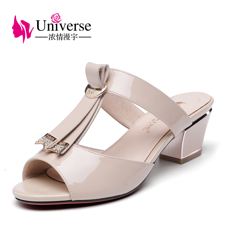 Universe Patent Leather Slippers High Heel Women Shoes Square Heel E088