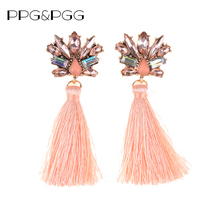 PPG&PGG 2017 Charm Style Bohemian Wedding Tassel Crystal Dangle Earring Drop Women Fringed Bijoux Cheap Hot Statement Earrings