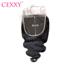 CEXXY 100% Peruvian Human Hair Body Wave 10-20 Inch 6x6 Transparent Lace Closure Pre Plucked Natural Color Closure Free Shipping(China)