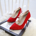 Spring autumn hot sale sexy pointed toe women pumps thin high heels buckle strap nightclub comfortable women shoes 9 colors