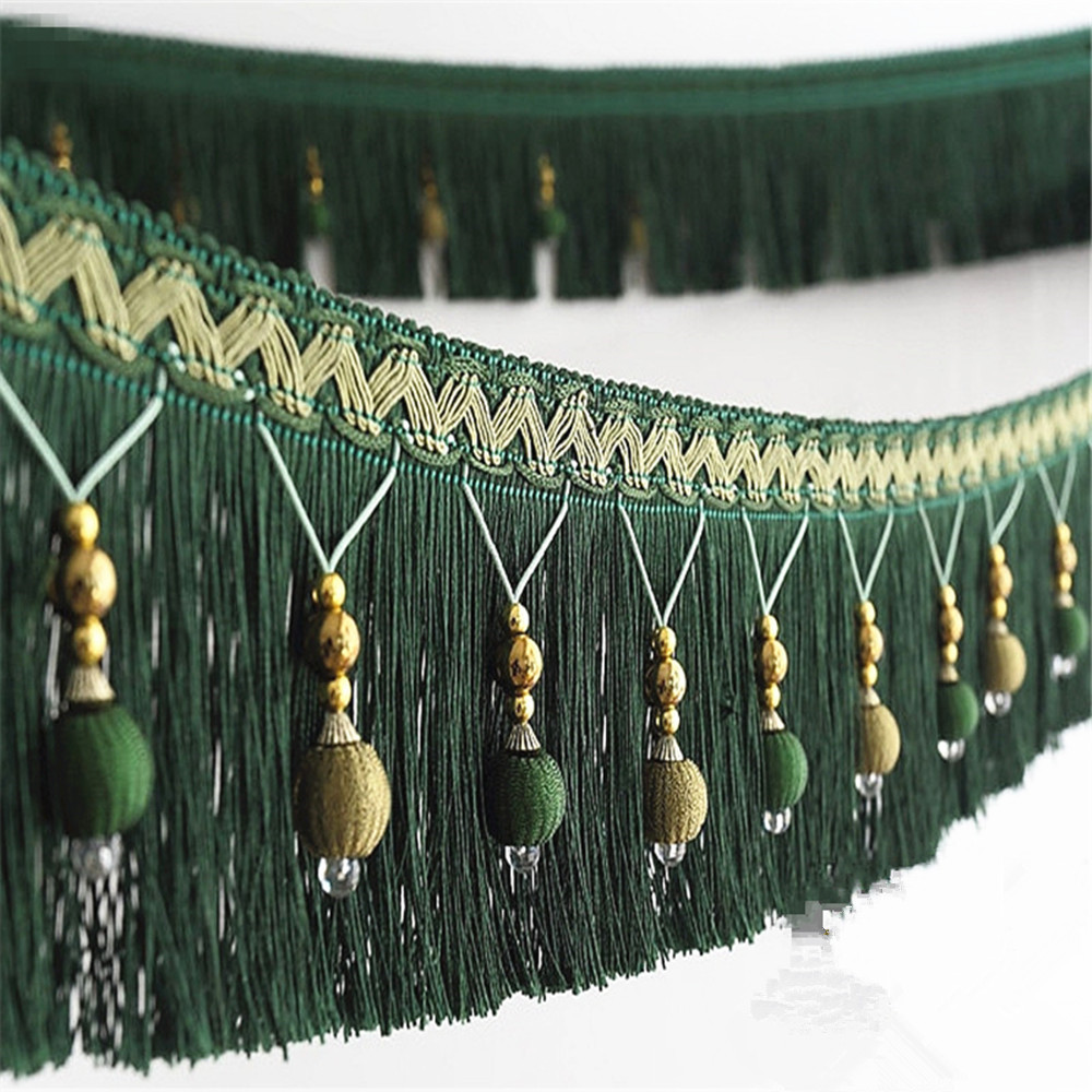 12meters Braided Beads Hanging Ball Tassel Fringe Trimming Applique Fabric Trimming Ribbon Band Curtain Table Wedding