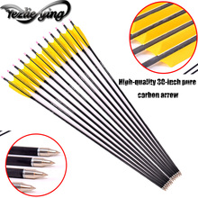 6/12/24PCS 30Inch Spine 300 Pure Carbon Arrows Yellow Real Feather Replaceable Outdoors Hunting Archery