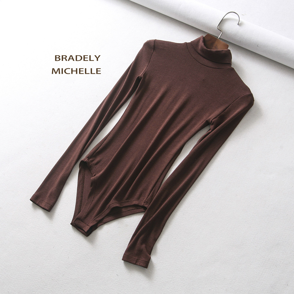 HTB1oFyvXk95K1Rjt Xoq6zeepXaJ - BRADELY MICHELLE autumn casual high-neck long-sleeve knitted bodysuits women new fashion solid  jumpsuits