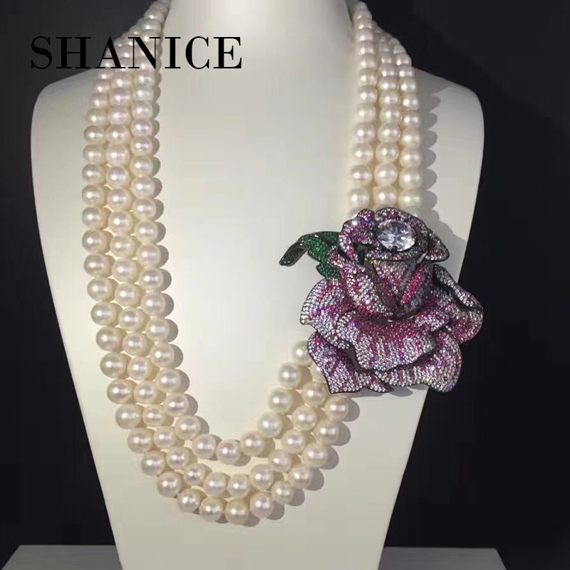 SHANICE DIY Big Rose Sweater Chain Tassel Pendant With Multiple Zircon Spacers And Luxury Necklace Connector Pendants Accessory комод пеленальный giovanni shapito leo jungle