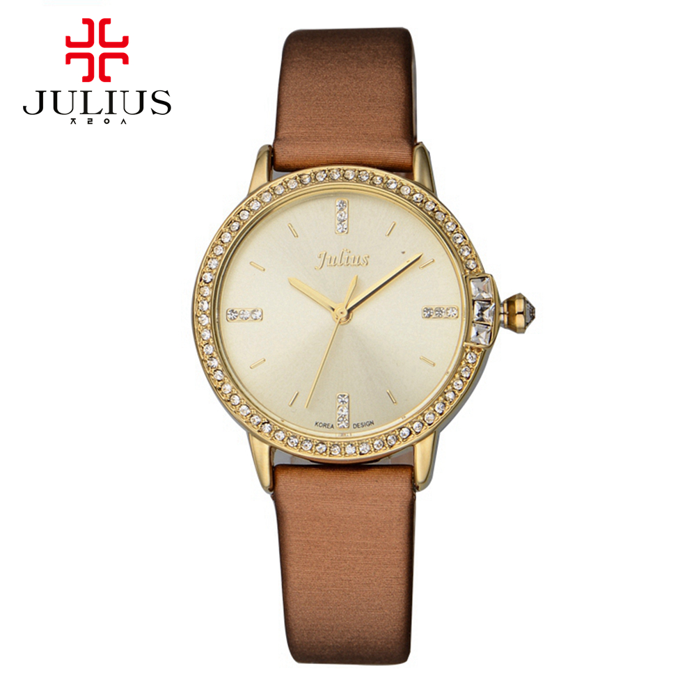 New womens leather rhinestone wristwatch women luxury dress watches fashion casual quartz watch Top brand Julius 777 Best clock цена