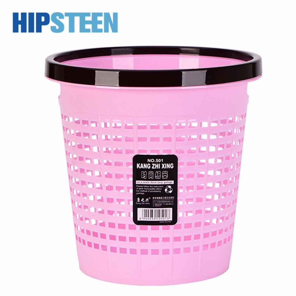HIPSTEEN Hollowed-out Pressing Ring Trash Can Durable Household Office Plastic Garbage Bin