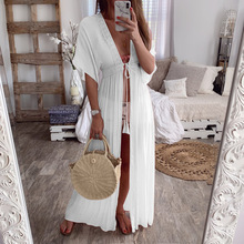 Summer Solid Color Bohemian Dress Women Half-sleeve Lace Up Long Beach Holiday Dress checked lace up long sleeve dress